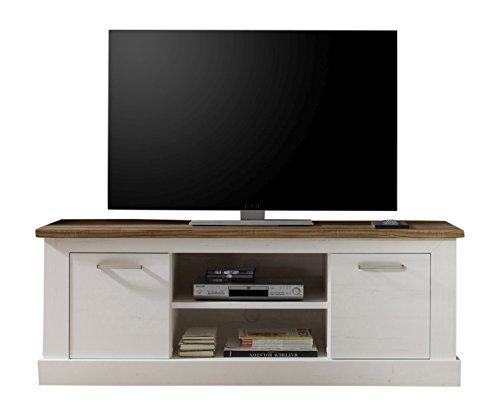 trendteam smart living 1491-318-61 TV Möbel Landhausstil Toronto, B x H x T 160 x 60 x 52 cm, in Pinie hell und Absetzungen in Satin Nussbaum
