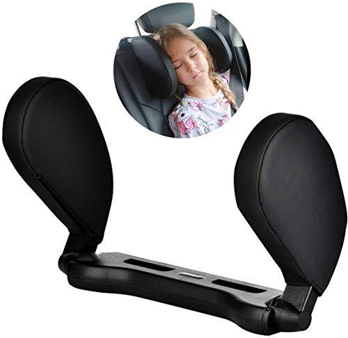 Cozywind Poggiatesta Auto,Cuscino Per Il Collo Dell\'auto Poggiatesta Laterale In Pelle Regolabile Adatto Per Il Supporto Della Testa Di Adulti E Bambini(Nero)