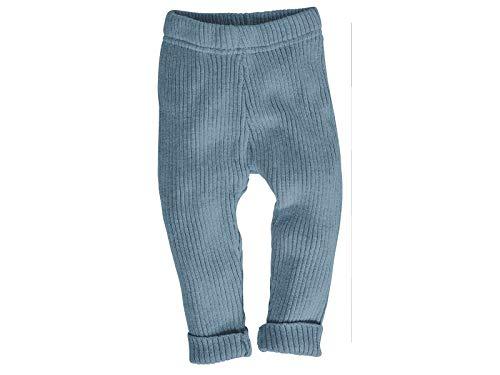 Bio Baby und Kinder Leggings Strick 100% Bio-Baumwolle (KbA) GOTS zertifiziert, Blau, 74/80