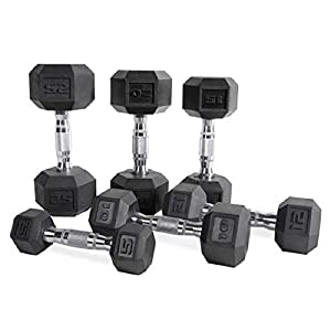 CAP Barbell Set of 2 Hex Rubber Dumbbell with Metal Handles, Pair of 2 Heavy Dumbbells Choose Weight (5lb, 8lb, 10lb, 15lb, 20 Lb, 25lb, 30lb, 35lb, 40lb, 50lb) (5lb x 2)