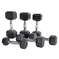 High Quality Design: Weights stay tight and do not detach, rubber coating will not damage floor or other surfaces Materials: Solid cast iron, chrome plated handle & rubber coated weights Versatile: Designed for use with curls, lifts, squats, press, a...