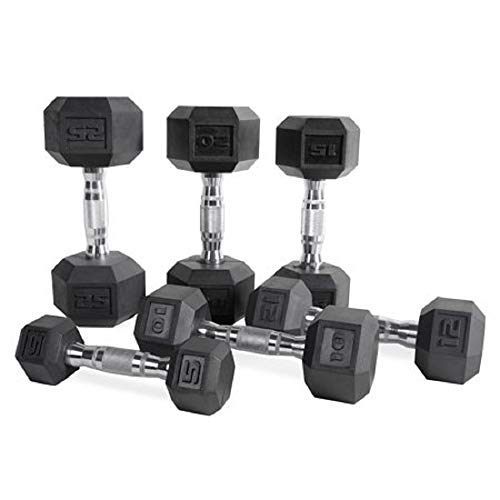 CAP Barbell Set of 2 Hex Rubber Dumbbell with Metal Handles, Pair of 2...