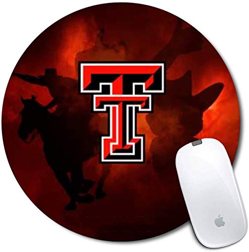 Tdxer Round Gaming Mouse Pad with Non-Slip Rubber Mousepad Mat of 8'Inches for Desktops,Computer,PC and Laptops Texas-tech-University