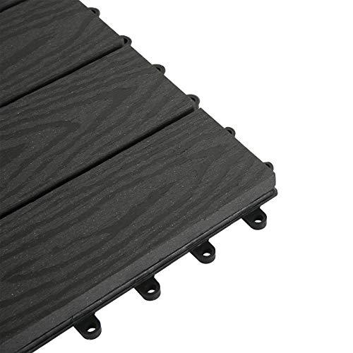 EUGAD WPC Premium Terrassenfliesen Bodenfliese Klickfliese Holzoptik, Terrassendielen Fliese Bodenbelag mit klicksystem, 22 Stück 30x30 cm = je 2 m² Anthrazit - 2