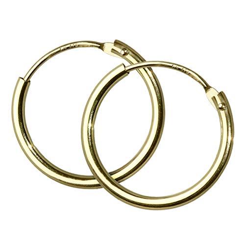 Nklaus 15mm Paar 375er Gelbgold Creole Gold Ohrringen Ohrschmuck Goldohrringe 3756
