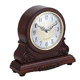 Reloj de Mantel Reloj del Manto de la Vendimia Decoración Reloj de Escritorio de la Sala de Reloj Estudio de Madera Que se Sienta Reloj Despertador Habitación Living Reloj de Cuello de Cuarzo