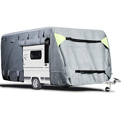 OOFIT Wohnwagen Schutzhülle atmungsaktiv für Caravan/Camping-Mobile, Wohnwagen Abdeckung, Wohnwagen Abdeckhaube Atmungsaktive Schutzhülle, 670x250x220 cm