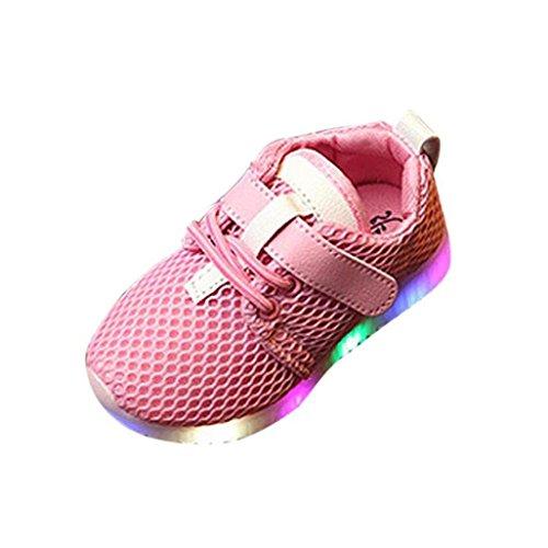 Chaussures de Bébé, LuckyGirls Mode Bébé Garçons Filles LED Chaussures Allument des Baskets Lumineuses de Course Baskets - Maille d'air -1~5.5 Ans (Âge: 1.5 Ans, Rose)