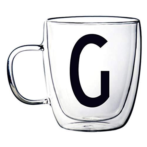 Verres Tasse À Café Double Verre Résistant À La Chaleur Tasse Créative (Color : G, Size : 9.4 * 11.9cm)