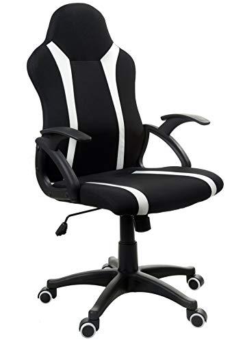 GIOSEDIO FBM042 Schwarz mit weißen Streifen, Stoffbezug Gaming PC Sessel Bürosessel Chefsessel Bürostuhl Drehstuhl Bürodrehstuhl (Schwarz/weiß)