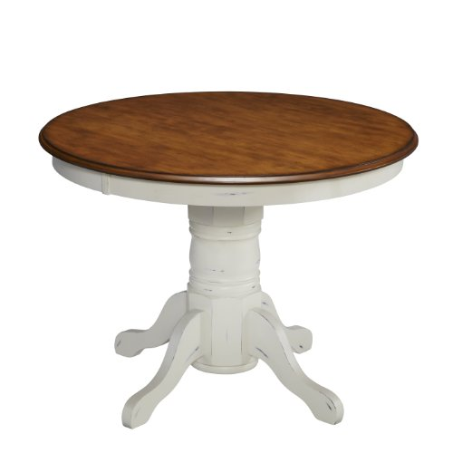 Home Styles 5518-30 The French Countryside Pedestal Table, Oak & Rubbed White