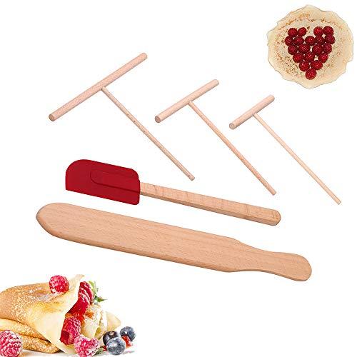 CAFFER Rastrillo de Madera Redondo Batter Crepe esparcidor esparcidor Kit de Herramientas de Cocina Conjunto de Bricolaje (L Set)