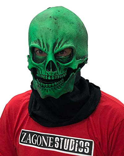 Adult UV Green Glow Skull Mask Standard