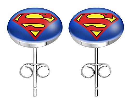 """Jewellery of Lords Damen und Herren Ohrringe aus Chirurgenstahl und Acryl beschichtetem """"Superman""""-Motiv"""
