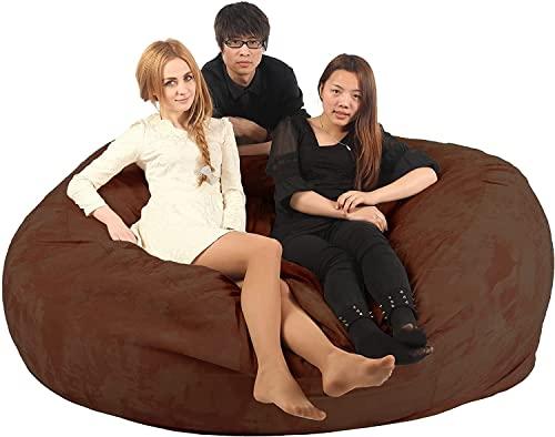 Dorosły pokrowiec na woreczki na fasolę (bez wypełniacza) do przechowywania wypchanych zwierząt dzieci worek fasoli krzesło fotel do gier worek fasoli do salonu (Color : Brown, Size : 6ft)