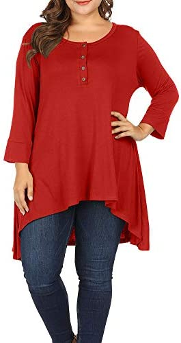 Allegrace Women Plus Size Henley Button Long Sleeve Tunic Shirts Round Neck Long Tunics Top product image