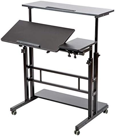 SIDUCAL Mobile Stand Up Desk Adjustable Laptop Desk with Wheels Storage Desk Home Office Workstation product image