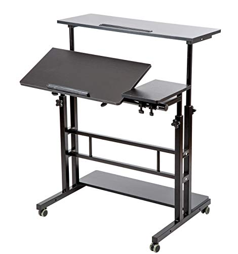 SIDUCAL Mobile Stand Up Desk, Adjustable Laptop Desk with Wheels Storage Desk Home Office Workstation, Rolling Table Laptop Cart for Standing or Sitting, Black