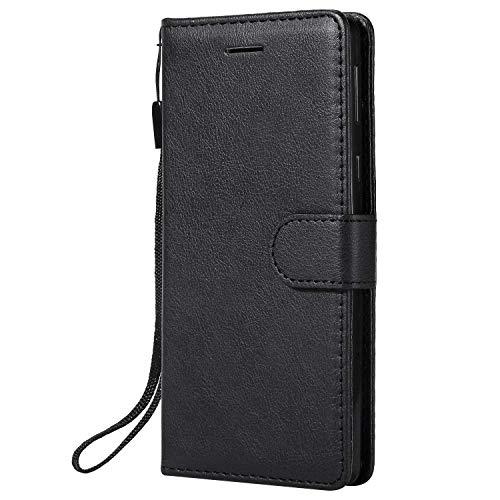 DENDICO Coque Sony Xperia E5, PU en Cuir Coque Portefeuille Étui Housse, Design Classique TPU Coque pour Sony Xperia E5 - Noir