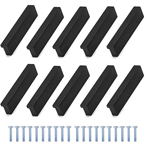 ManLee 10pz Maniglie per Mobili da Cucina Nero 90° L Stile Maniglie per Cassetti in Alluminio Manopole per Armadio Moderni con Viti Interasse 32mm