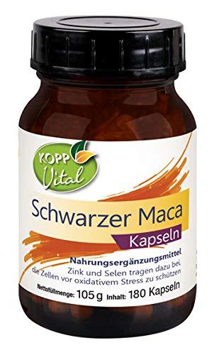 Kopp Vital Schwarzer Maca | 105 g | 180 Kapseln | plus Selen und Zink | 100% Schwarzer-Maca-Extrakt | Premiumqualität