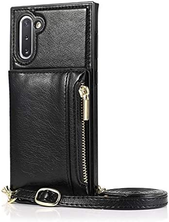Case for Samsung Galaxy Note 10 Pro, Zipper Wallet Case with Credit Card Holder/Crossbody Long Lanyard, Shockproof Leather TPU Case Cover for Samsung Galaxy Note 10 Pro (Color : Black)