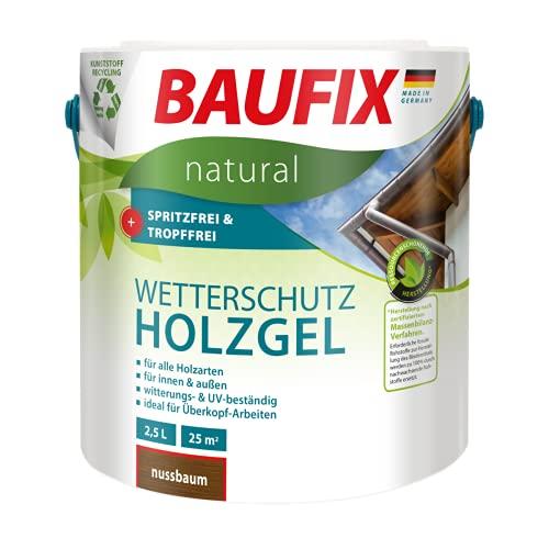 BAUFIX natural Wetterschutz-Holzgel nussbaum, 2.5 Liter, atmungsaktive Ökofarbe aus nachhaltiger Produktenb für außen & innen, vegan, witterungsbestöndig, UV-beständig, für alle Holzarten geeignet