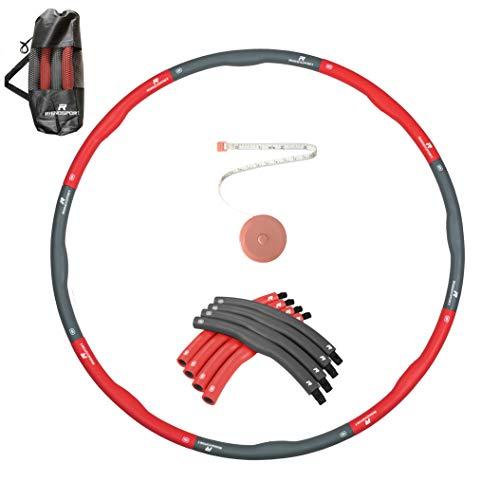RHINOSPORT Hula Hoop Reifen zum abnehmen Fitness für Erwachsene & Kinder, 8 Teile abnehmbar, Gewicht und Größe können angepasst Werden (1,2 kg) mit Mini Bandmaß (Schwarz Rot)