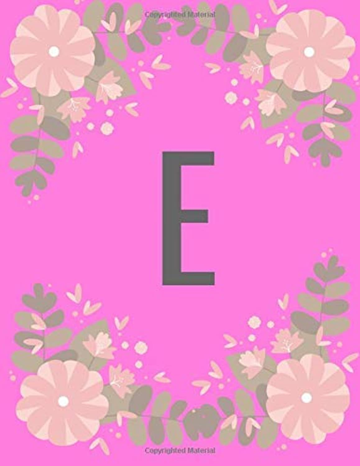 ロビー白い地域のE: Floral Pink cover Letter Initial E Compositional journal for GirlsLadiesWomenNotebook to write 8.5x11 [並行輸入品]
