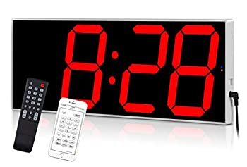 West Ocean Digital LED Wall Clock Large Oversized Display with Wireless Remote Smart Control and Countdown Alarm Multifunction Digital Wall Clock  Red