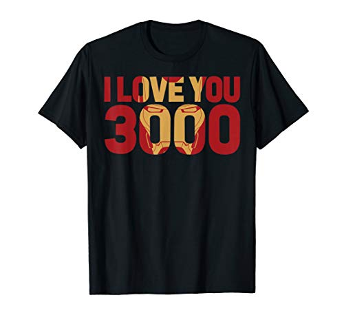 Marvel Avengers Endgame Iron Man I Love You 3000 Text Fill T-Shirt