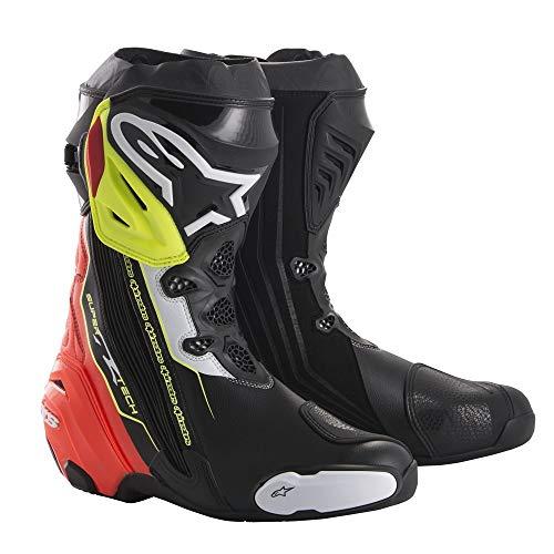Alpinestars Supertech R 45 Botas de Moto, Color Negro, Rojo y Amarillo