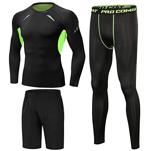 Sykooria 3 Piezas Conjunto de Compresión Deportiva para Hombre Camisetas de Manga Larga de Fitness Mallas de Running y Pantalon Deporte Corto de Elástico Correr Gym