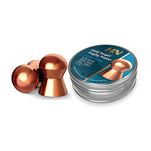 H&N Field Target Trophy Power Copper-Plated Domed Airgun Pellets .22 Caliber / 14.66 Grains (200 Count)