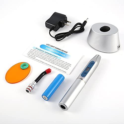 Luz fotopolimerizável 5W de alta potência Led fotopolimerizador Equipamento odontológico Dispositivo de luz LED sem fio Máquina sensível à luz com display digital - Plugue Silvery Us