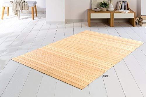 DE-COmmerce Bambusteppich SOLID Pure 70x140 cm extra breite 50mm Stege I die Neue Generation Bambusteppich I kein Bordürenteppich I Teppich I Wohnzimmer I Küche I I Made IN Germany