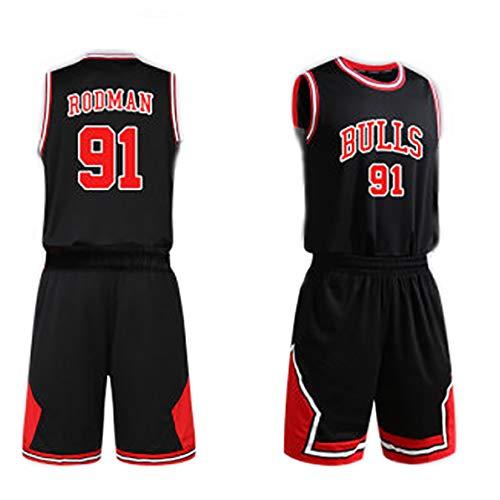 Herrenbasketball-Sportbekleidung,Für Scottie Pippen 33 Dennis Rodman 91 für Bulls Kinderbasketballuniform,Fan Edition-Trikot, können für Trainingswettkämpfe verwendet werden, weich und bequem-91#