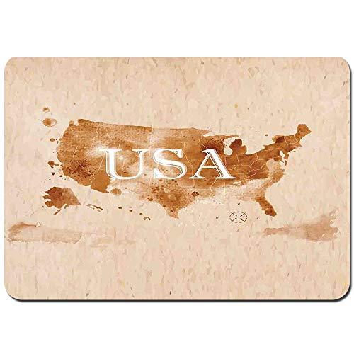 Blived Tapis de Bain Antidérapant Au début de la Carte rétro américaine du Pays du sud-Ouest et de l'Alaska Image Tapis de pour Salle de Bain(75cmx45cm)