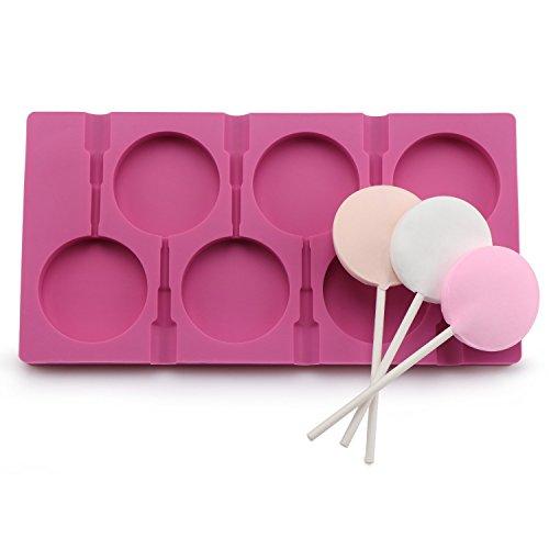 Silikonform für 6 Lutscher, zum Selbermachen von Zucker- und Schokoladen-Lutschern, lebensmittelechtes Silikon, Form für Wassereis, Seife, Kuchen, mit 50Lutscher-Stäbchen rose
