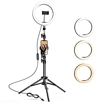 10.2 inch Selfie Ring Light with Tripod Stand & 2 Phone Holders LETSCOM Dimmable Led Beauty Camera Ringlight for Makeup/Photography/YouTube Videos/Vlog/TIK Tok/Live Compatible with iPhone & Android