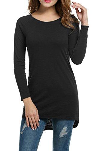 Meaneor Damen Langarm Shirt Basics Shirt Longshirt Tunika Bluse T-Shirt Baumwolle Oberteil Asymmetrisch, Schwarz, EU 36(Herstellergröße: S)