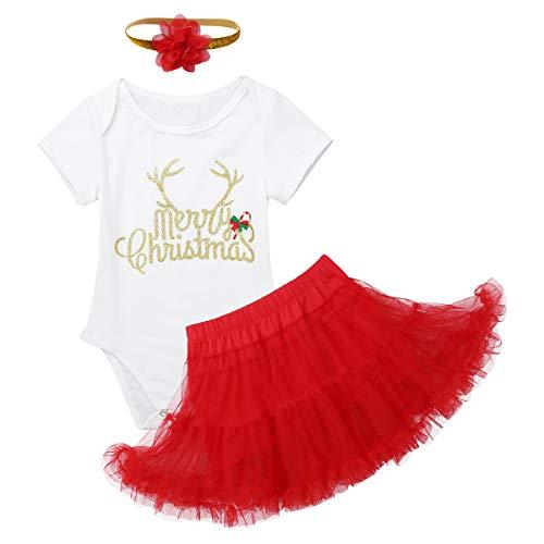 Freebily Bebé Niña Merry Christmas Disfraz Bebé Primera Navidad Traje Fiesta Bautizo Recién Nacidos Tutú Vestido Conjunto con Diadema de Flores Marfil y Rojo 3-6 Meses