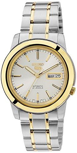 Seiko Herren-Armbanduhr SNKE54 Seiko 5, automatisch, weißes Zifferblatt, zweifarbig, Edelstahl