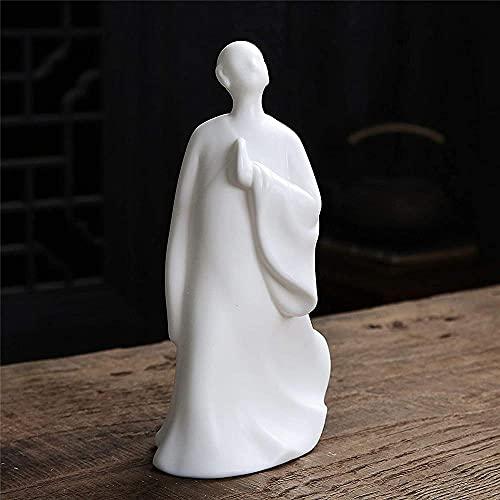 Estatuilla de Buda Blanco Decoración Zen para Interior y Exterior Jardín Zen Feng Shui Estatua de Buda Estatuilla Artesanía de cerámica Moderna Adorno de Escritorio Accesorios Hombre-Hombre