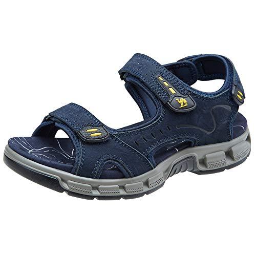 CAMEL CROWN Herren Outdoor Sports Sandalen Waterproof Wandersandalen Strand Ledersandalen Trekking Sommer Männer Sandalen Schuhe Klettverschluss,Blau,44 EU