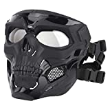 Airsoft Skull Mask Full Face with Clear Lens Dual Wearing Ways for Halloween Cosplay Party Moive Props Tactical Outdoor (Black)