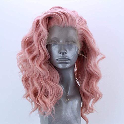LDSBGJ Pruiken synthetisch haar lace front pruik vrouwelijke roze krullen