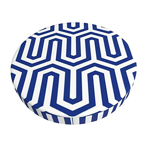 Round Bar Chair Cushion Cover Deco Egyptian Motif Cobalt Blue And White Barstool Seat Covers Elastic Stool Slipcover