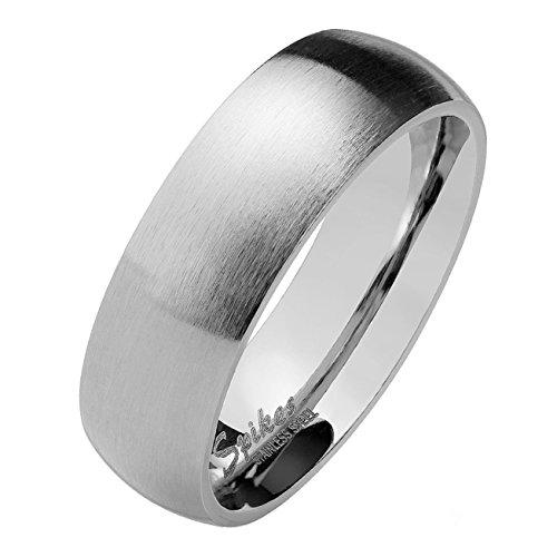 Paula & Fritz® Silber matt poliert 4mm BREITE Edelstahlring Damen-Ring Verlobungs-Ring Freundschaftsring Herrenring Partnerring 60 (19)