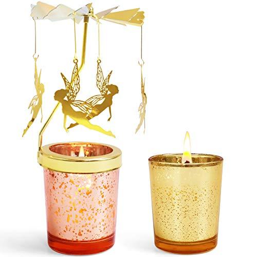LA BELLEFÉE Lampara Giratoria con Dos Velas de Cera Vegana Aromáticas Navidad Año Nuevo Portavelas Giratorio Alrededor de la Llama como por Arte de Magia Angel Dorado